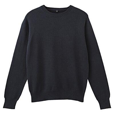 オーガニックコットンクルーネックセーター 紳士L・ダークネイビー
