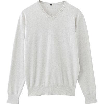 コットンシルクVネックセーター 紳士XL・アイボリー