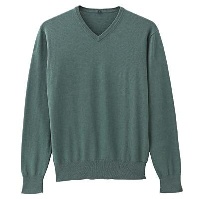 コットンシルクVネックセーター 紳士XL・グリーン