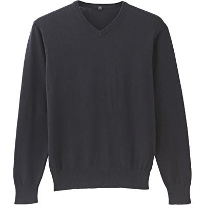コットンシルクVネックセーター 紳士S・黒
