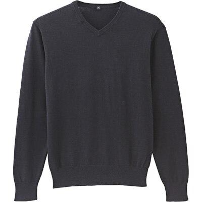 コットンシルクVネックセーター 紳士XL・黒