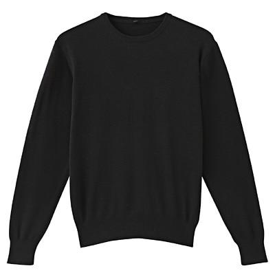 コットンシルククルーネックセーター 紳士XL・黒