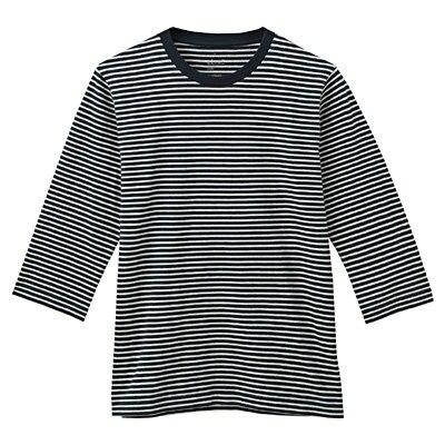 オーガニックコットンボーダー七分袖Tシャツ 紳士M・ダークネイビー
