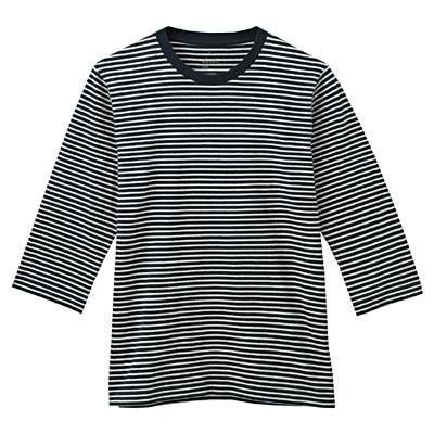 オーガニックコットンボーダー七分袖Tシャツ 紳士XL・ダークネイビー