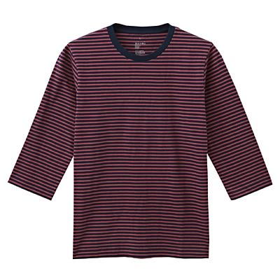 オーガニックコットンボーダー七分袖Tシャツ 紳士XL・バーガンディ