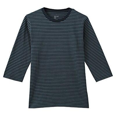 オーガニックコットンボーダー七分袖Tシャツ 紳士L・グリーン
