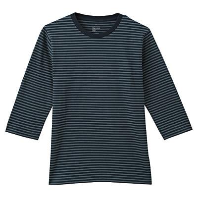 オーガニックコットンボーダー七分袖Tシャツ 紳士XL・グリーン