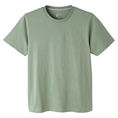 オーガニックコットンクルーネック半袖Tシャツ 紳士S・ライムグリーン