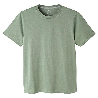 オーガニックコットンクルーネック半袖Tシャツ 紳士L・ライムグリーン