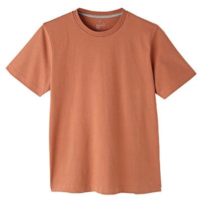 オーガニックコットンクルーネック半袖Tシャツ 紳士M・スモーキーアプリコット