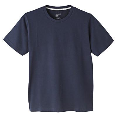 オーガニックコットンクルーネック半袖Tシャツ 紳士M・ダークネイビー