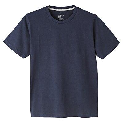 オーガニックコットンクルーネック半袖Tシャツ 紳士L・ダークネイビー