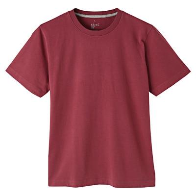 オーガニックコットンクルーネック半袖Tシャツ 紳士XS・バーガンディ