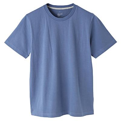 オーガニックコットンクルーネック半袖Tシャツ 紳士XL・スモーキーブルー