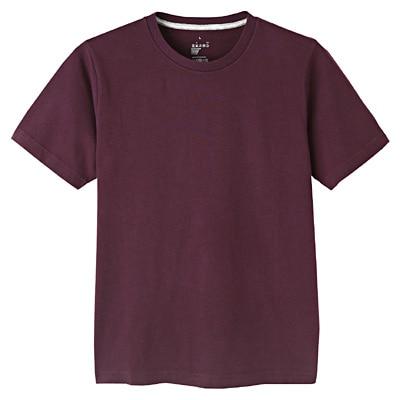 オーガニックコットンクルーネック半袖Tシャツ 紳士XS・ダークパープル