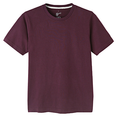 オーガニックコットンクルーネック半袖Tシャツ 紳士M・ダークパープル