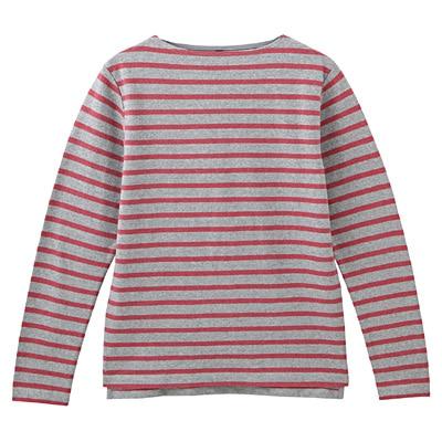 オーガニックコットンボーダーボートネック長袖Tシャツ 紳士XL・グレー×柄