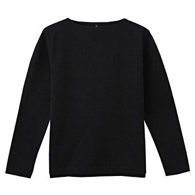 オーガニックコットンボートネック長袖Tシャツ 紳士XL・ダークネイビー