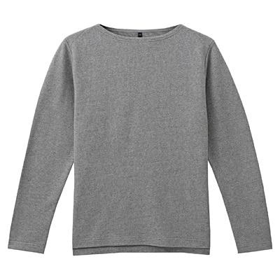 オーガニックコットンボートネック長袖Tシャツ 紳士XL・グレー