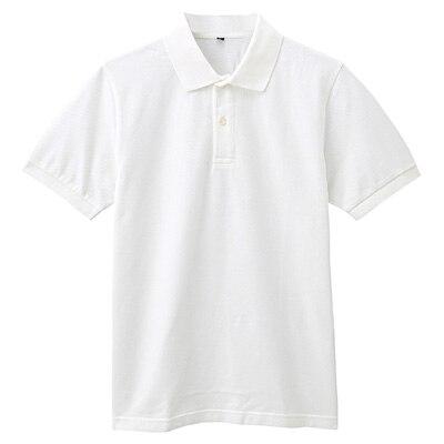 オーガニックコットン鹿の子半袖ポロシャツ 紳士XXL・オフ白