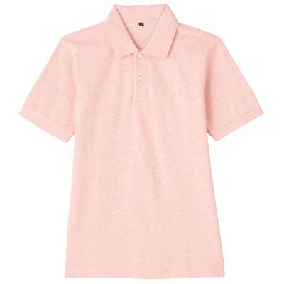 オーガニックコットン鹿の子半袖ポロシャツ 紳士XL・ベビーピンク