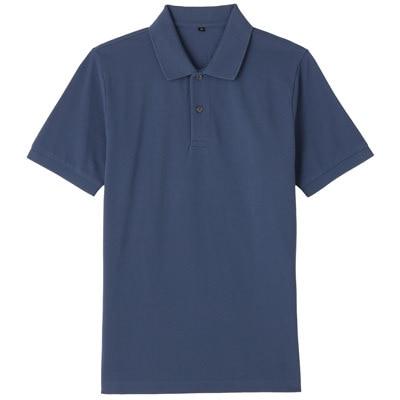 オーガニックコットン鹿の子半袖ポロシャツ 紳士S・ブルー