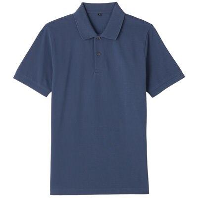 オーガニックコットン鹿の子半袖ポロシャツ 紳士XXL・ブルー
