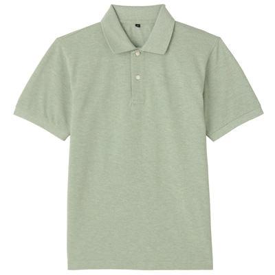 オーガニックコットン鹿の子半袖ポロシャツ 紳士XL・ライトグリーン