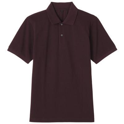 オーガニックコットン鹿の子半袖ポロシャツ 紳士XL・ダークパープル