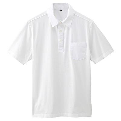 オーガニックコットン天竺ポケット付半袖ポロシャツ 紳士S・オフ白