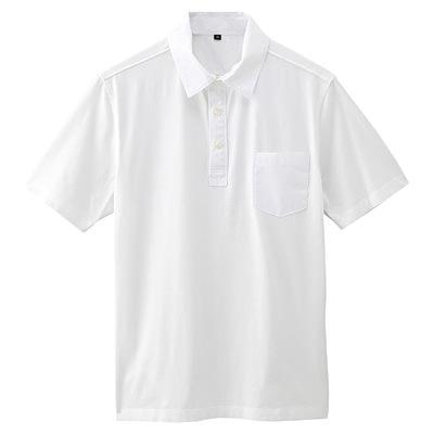 オーガニックコットン天竺ポケット付半袖ポロシャツ 紳士XL・オフ白