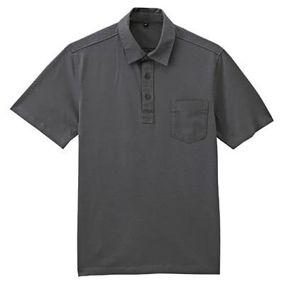 オーガニックコットン天竺ポケット付半袖ポロシャツ 紳士L・ダークグレー