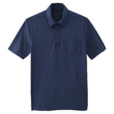 オーガニックコットン天竺ポケット付半袖ポロシャツ 紳士L・ブルー