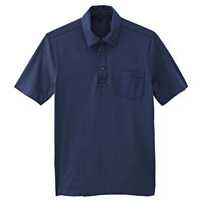オーガニックコットン天竺ポケット付半袖ポロシャツ 紳士XL・ブルー