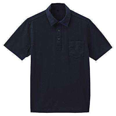 オーガニックコットン天竺ポケット付半袖ポロシャツ 紳士L・ダークネイビー