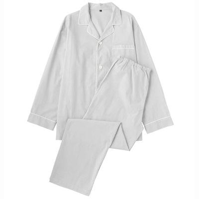 オーガニックコットンブロードパジャマ(長袖・ロング) 紳士S・グレー