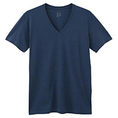 綿混天竺涼感Vネック半袖シャツ(抗菌防臭) 紳士L・ブルー