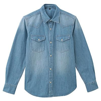 オーガニックコットンデニムウエスタンシャツ 紳士XL・ブルー