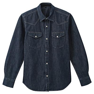 オーガニックコットンデニムウエスタンシャツ 紳士XL・ネイビー