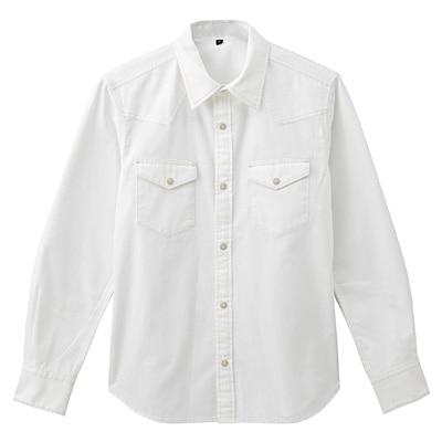 オーガニックコットンツイルウエスタンシャツ 紳士XL・オフ白