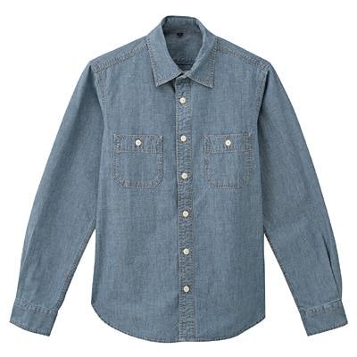 オーガニックコットンシャンブレーダブルポケットシャツ 紳士S・ブルー