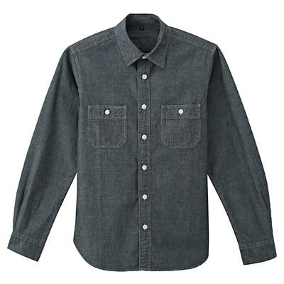 オーガニックコットンシャンブレーダブルポケットシャツ 紳士XL・ネイビー