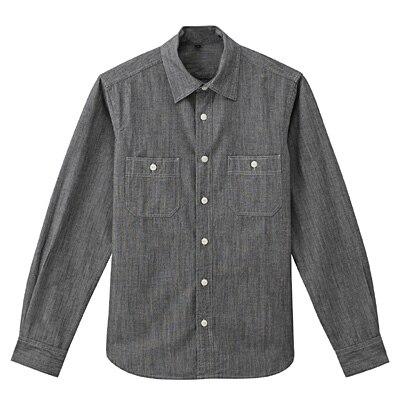 オーガニックコットンシャンブレーダブルポケットシャツ 紳士M・黒