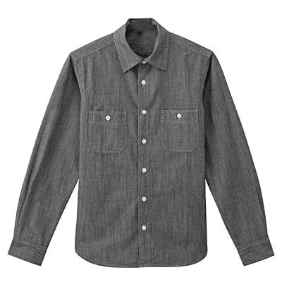 オーガニックコットンシャンブレーダブルポケットシャツ 紳士L・黒