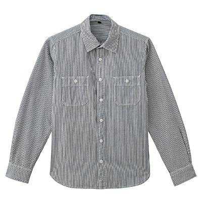 オーガニックコットンインディゴダブルポケットシャツ 紳士L・ネイビー×柄