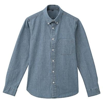 オーガニックコットンシャンブレーボタンダウンシャツ 紳士L・ブルー