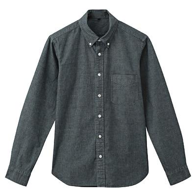 オーガニックコットンシャンブレーボタンダウンシャツ 紳士L・ネイビー