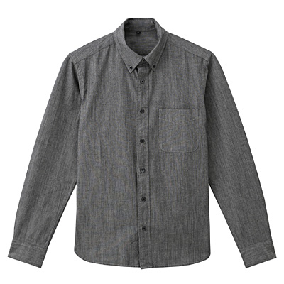 オーガニックコットンシャンブレーボタンダウンシャツ 紳士L・黒