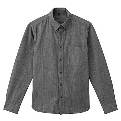 オーガニックコットンシャンブレーボタンダウンシャツ 紳士XL・黒