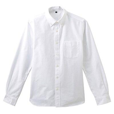 オーガニックコットンオックスフォードボタンダウンシャツ 紳士S・白